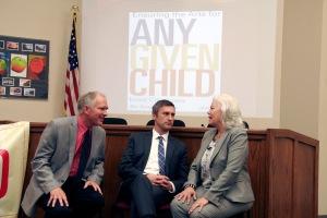 Hancher Director Chuck Swanson, Iowa City Mayor Matthew Hayek, and Barbara Shepherd, Director of National Partnerships at the Kennedy Center.